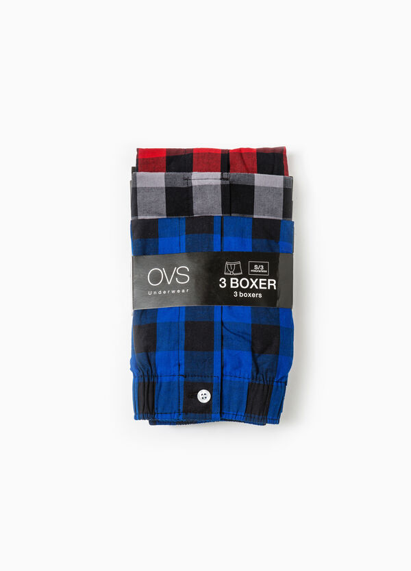 Three-pack cotton check pattern boxer shorts | OVS