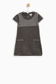 Cotton and wool glitter dress, Dark Grey, hi-res
