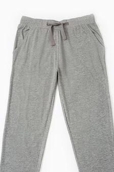 Cotton pyjama trousers, Grey Marl, hi-res