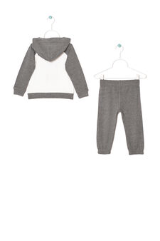 Tracksuit in 100% cotton with print, White/Grey, hi-res