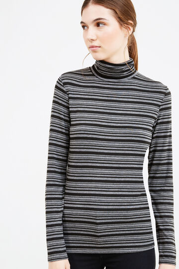 Stretch striped viscose turtleneck, Black/Grey, hi-res