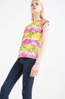 Printed T-shirt in 100% cotton, Yellow, hi-res