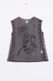 Printed vest in 100% cotton, Grey, hi-res