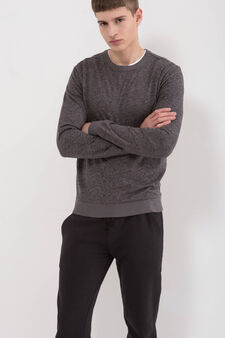 Cotton blend patterned sweatshirt, Dark Grey, hi-res
