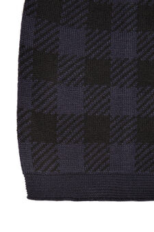 Check beanie cap, Black/Blue, hi-res