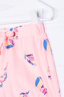 Stretch cotton patterned shorts, Peach Orange, hi-res