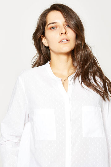 Curvy V-neck blouse, White, hi-res