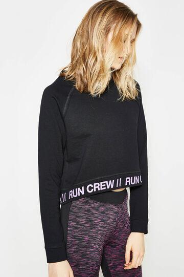 Printed cotton crop sweatshirt, Black, hi-res