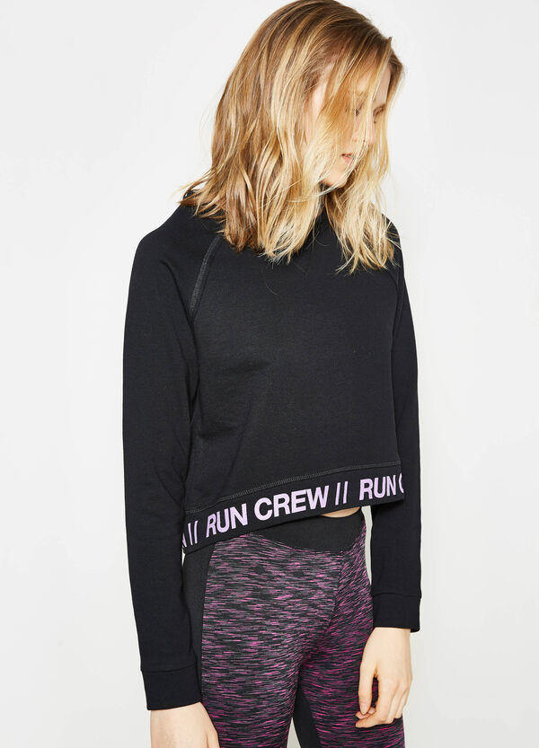 Printed cotton crop sweatshirt | OVS