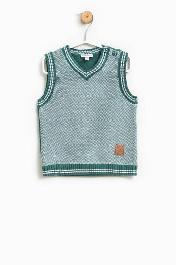 100% cotton knitted gilet with patch