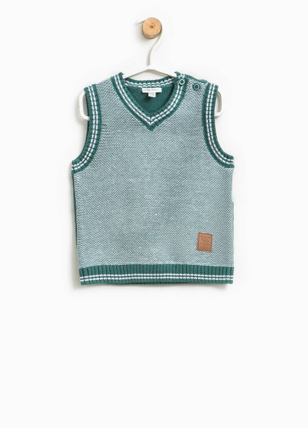 100% cotton knitted gilet with patch | OVS