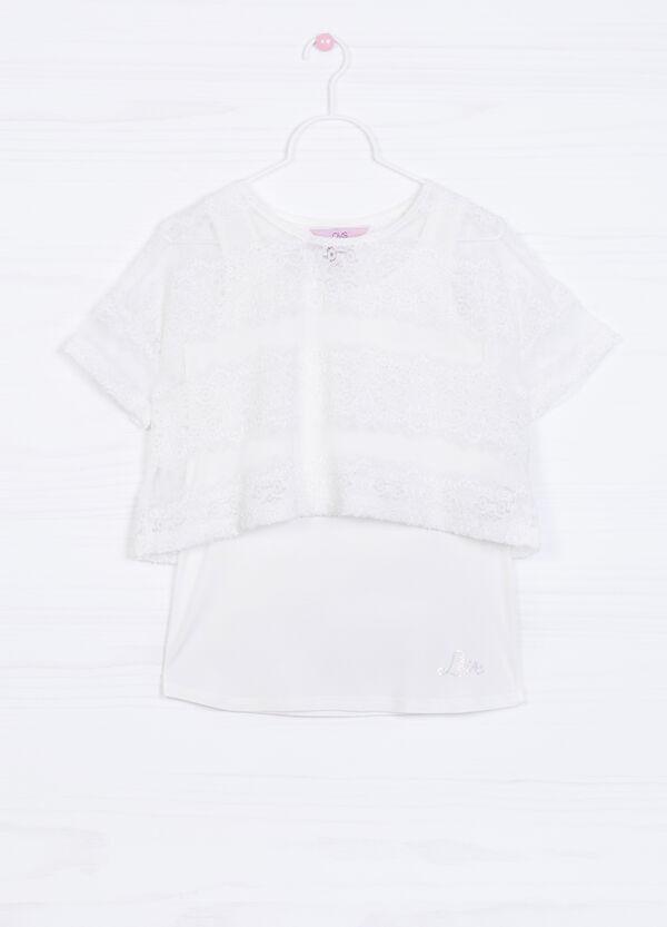 Faux layered stretch T-shirt | OVS
