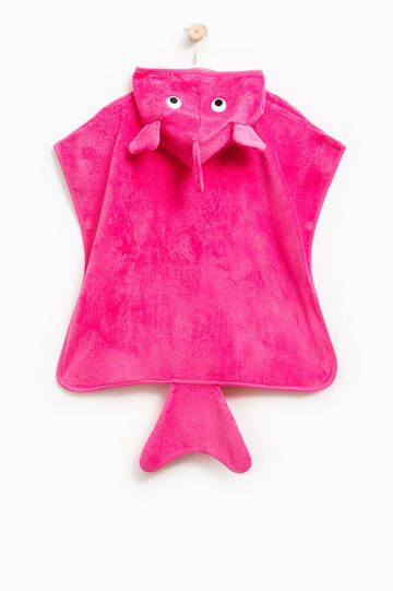 Bath cape with tail, Coral Pink, hi-res