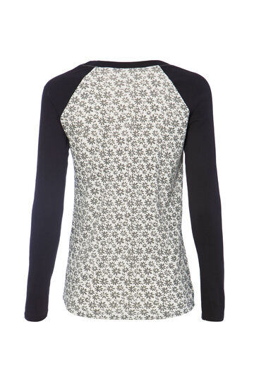 Smart Basic patterned cotton T-shirt, White/Black, hi-res