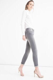 Jeans stretch slim fit effetto used, Grigio, hi-res