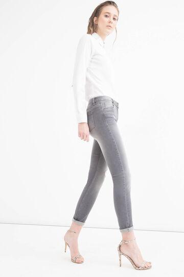 Slim-fit, worn-effect, stretch jeans, Grey, hi-res