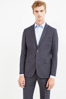 Elegant, slim-fit blazer with micro dots, Dark Grey, hi-res