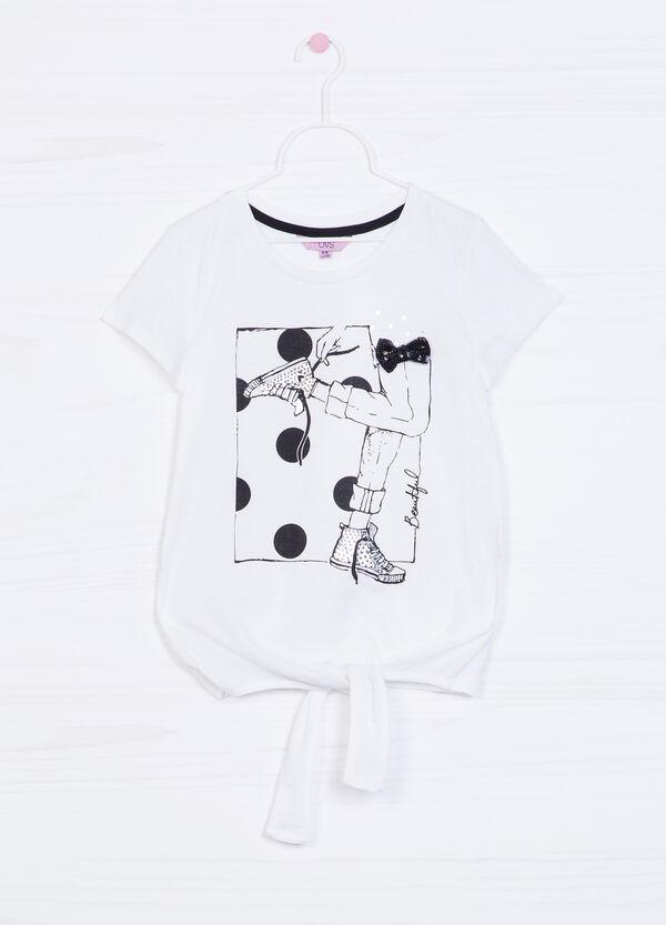 T-shirt cotone fiocco di paillettes | OVS