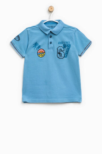 Polo shirt in cotton with print and patches