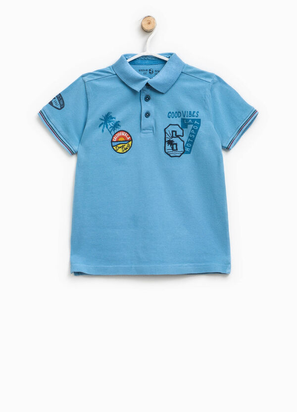 Polo shirt in cotton with print and patches | OVS