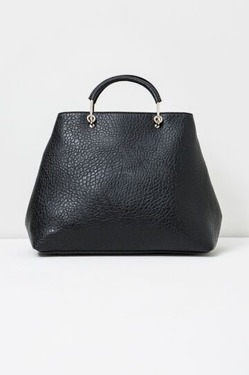 Textured-effect handbag with zip, Black, hi-res