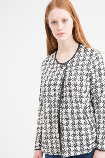 Curvy hound's tooth cardigan, Black/White, hi-res