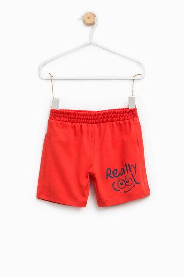 Shorts with printed lettering, Papaya Orange, hi-res
