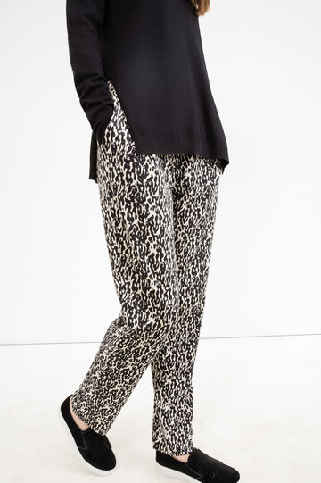Stretch trousers with animal pattern, Black, hi-res
