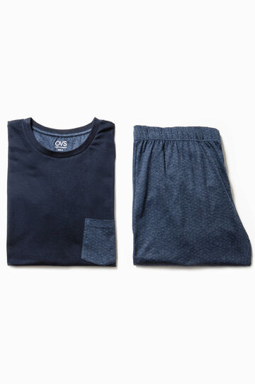 Pijama en algodón 100% con un bolsillo, Azul marino, hi-res