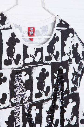 T-shirt cotone stampa e paillettes, Bianco, hi-res