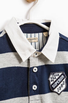 Striped pattern polo shirt in 100% cotton, Blue/Grey, hi-res