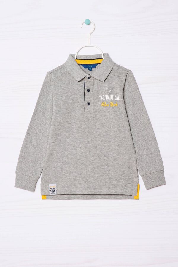 100% cotton polo shirt with printed lettering   OVS