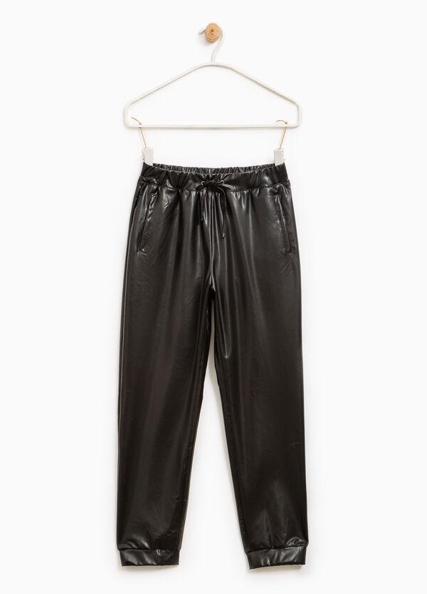 Pantalón en piel sintética con cordón de ajuste | OVS