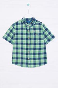 Camicia puro cotone tartan, Verde, hi-res