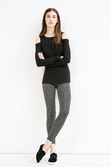 Printed leggings in stretch cotton, Black, hi-res