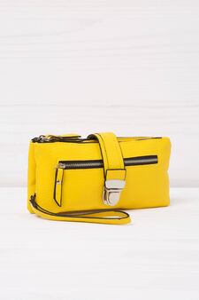 Leather look wallet with two compartments, Yellow, hi-res