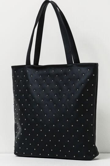 Shoulder bag with studs, Black, hi-res