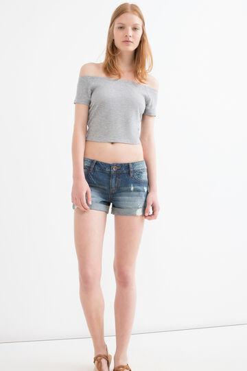 T-shirt crop a costine viscosa, Grigio melange, hi-res
