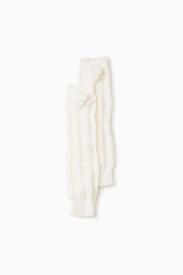 Knitted leg warmers with pompoms, Cream White, hi-res