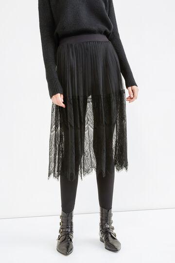 Longuette skirt in lace, Black, hi-res