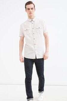 Linen and cotton blend shirt., Beige, hi-res