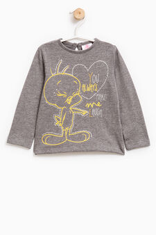 Stretch T-shirt with Tweetie Pie print, Dark Grey, hi-res