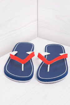 Thong sandals with contrasting colour band., Navy Blue, hi-res