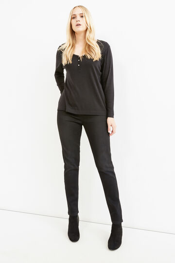Curvy T-shirt with trim on neckline, Black, hi-res