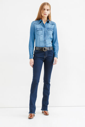 Denim shirt with double pocket, Medium Wash, hi-res
