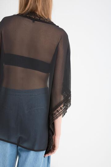 Semi-sheer openwork blouse, Black, hi-res