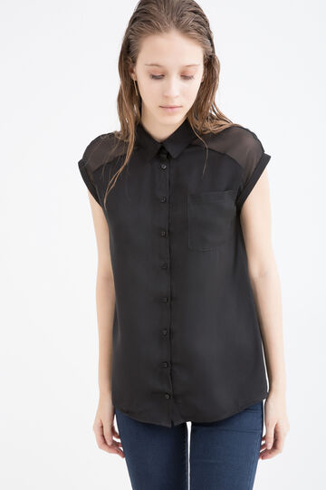 Solid colour blouse with bluff collar, Black, hi-res