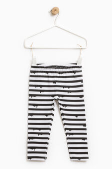 Striped stretch cotton leggings, White/Black, hi-res