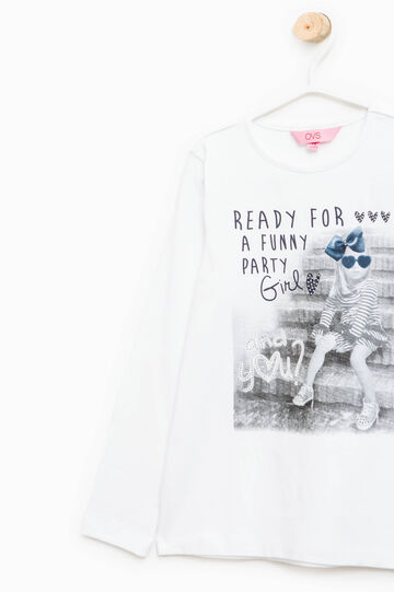 Camiseta elástica con estampado y strass, Blanco, hi-res