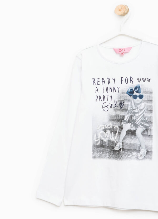 Stretch T-shirt with print and diamantés | OVS